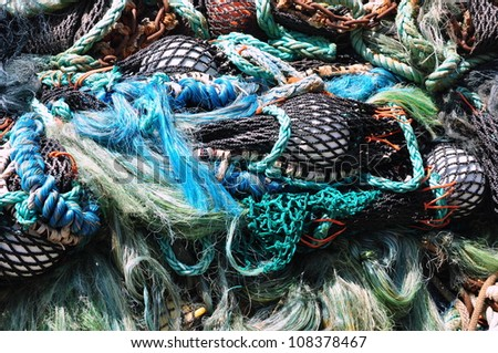 Pile of colorful fishing net - stock photo