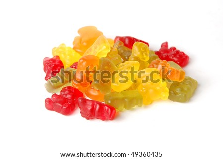 Pile of colorful gummy bears - stock photo