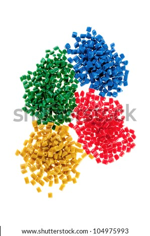Pile of colorful plastic polymer - stock photo