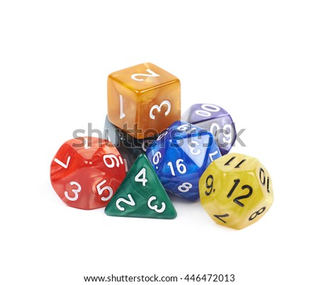 Pile of colorful roleplaying polyhedral dices isolated over the white background - stock photo