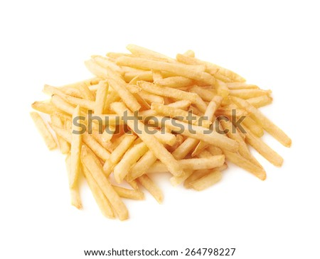 Pile of cooked golden yellow french fries potatoes isolated over the white background - stock photo
