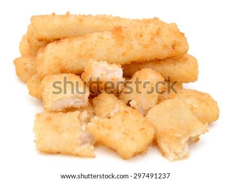 pile of crunchy fish sticks on white background  - stock photo
