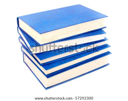 pile of dark blue books on a white background - stock photo