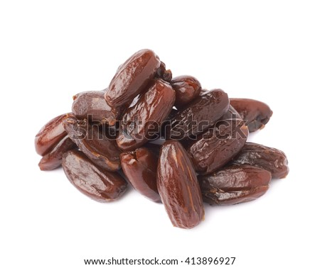 Pile of dark date fruits over white isolated background surface - stock photo