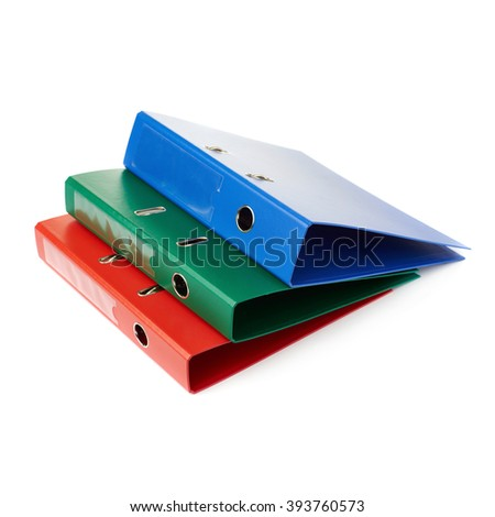 Pile of different  Office folders isolated over the white background - stock photo