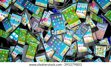 Pile of different types of cell phones. Technology or recycling concept. - stock photo