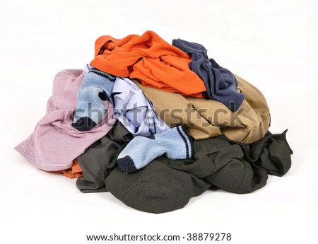 Pile of dirty clothes - stock photo