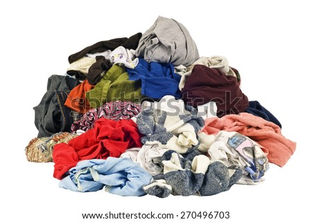 Pile Of Dirty Laundry On White Background - stock photo