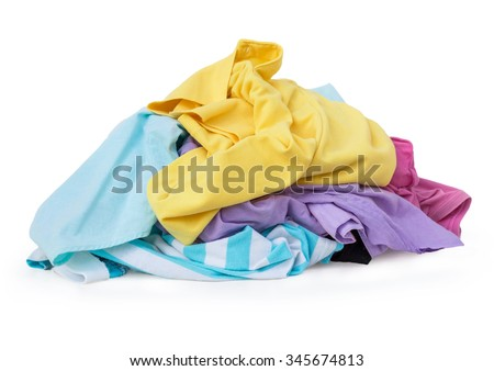Pile Of Dirty Laundry On White Background with Clipping Path. - stock photo