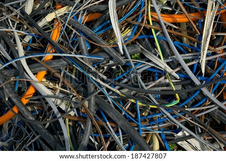 Pile of discarded cables - stock photo