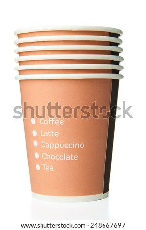 Pile of disposable paper cups on white background - stock photo