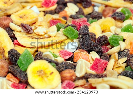 pile of dried fruit as part of the food - stock photo