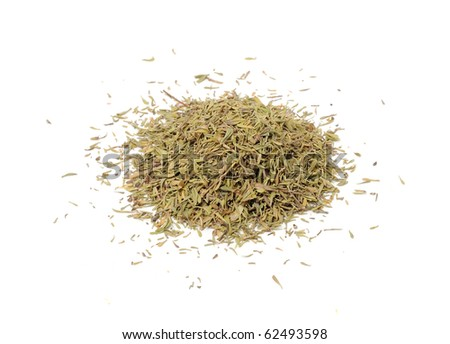 Pile of Dried Thyme Isolated on White Background - stock photo