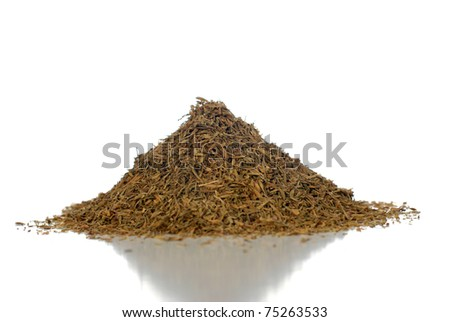 Pile of Dried thyme Isolated on White Background. - stock photo