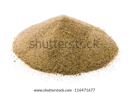 Pile of dry sand isolated on white - stock photo