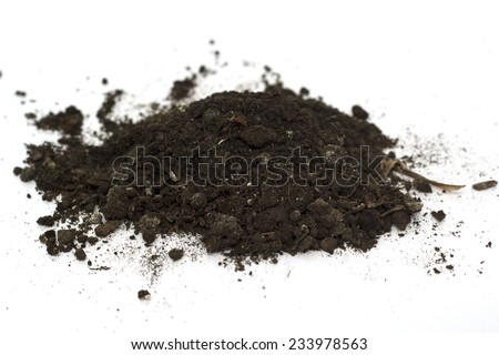 pile of earth on a white background - stock photo