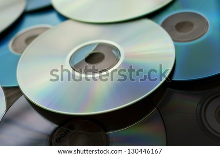 Pile of few compact discs cd - stock photo
