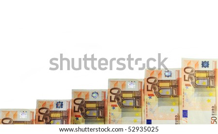 Pile of fifty euro banknotes - stock photo