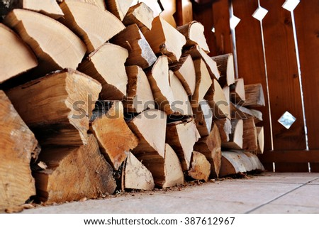 Pile of firewood. - stock photo