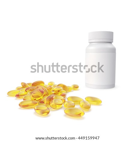 Pile of fish oil capsules out of a bottle being near the bottle. 3d illustration - stock photo