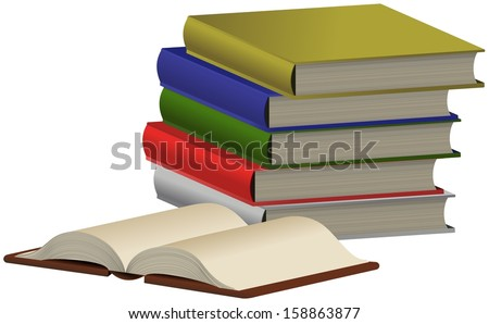 Pile of five colored books and opened one front of them - stock photo