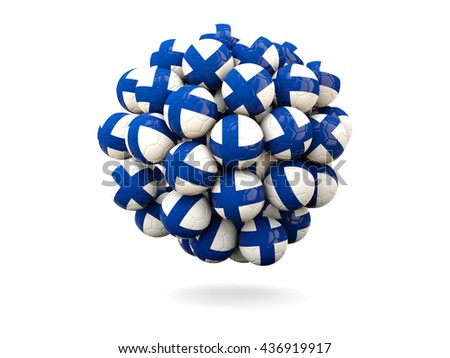 Pile of footballs with flag of finland. 3D illustration - stock photo
