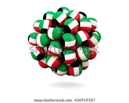 Pile of footballs with flag of kuwait. 3D illustration - stock photo