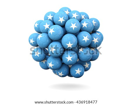Pile of footballs with flag of somalia. 3D illustration - stock photo