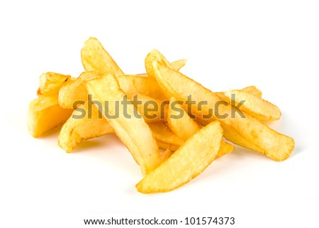 Pile of french fries over white - stock photo