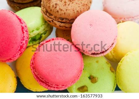 pile of french multicolored  macaroons close up - stock photo