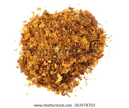 Pile of fresh tobacco isolated on white background - stock photo