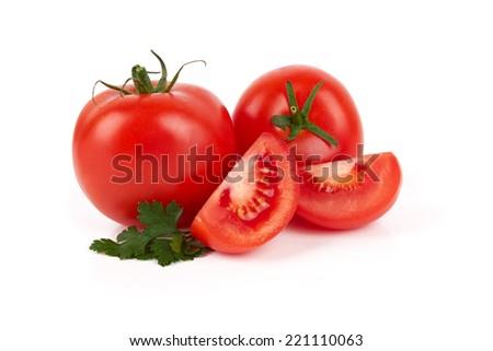 Pile of fresh tomatoes isolated on white background  - stock photo
