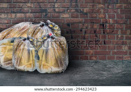 Pile of full garbage bags - stock photo