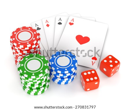 Pile of gambling chips, playing cards and two dices isolated on white background. Casino games, luck and winning concept. - stock photo