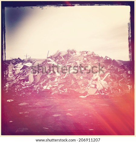 Pile of Garbage with instagram effect - stock photo