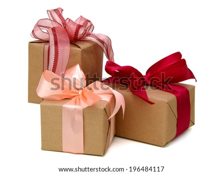 Pile of gift boxes isolated on white background - stock photo