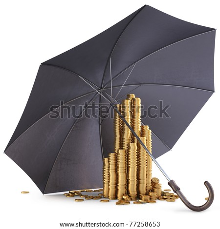 pile of gold coins under the umbrella. isolated on white. - stock photo