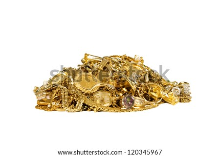 Pile of Gold Jewelry - stock photo