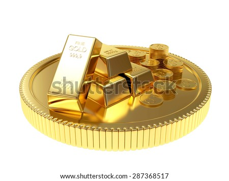 Pile of golden bars and coins on a large coin isolated on white background - stock photo