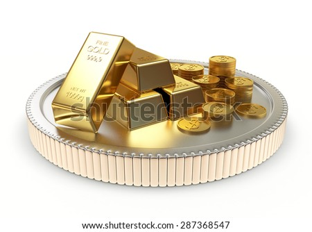 Pile of golden bars and coins on a large silver coin isolated on white background - stock photo