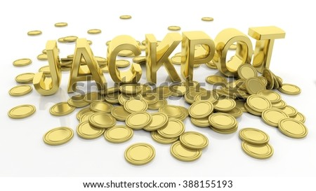 Pile of golden coins and word Jackpot, isolated on white background. - stock photo