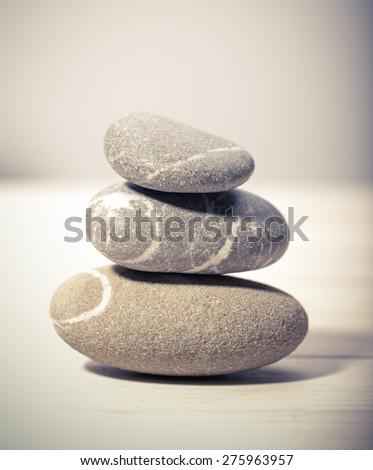 pile of gray stones, zen - stock photo