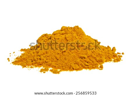 Pile of ground turmeric on a white background - stock photo