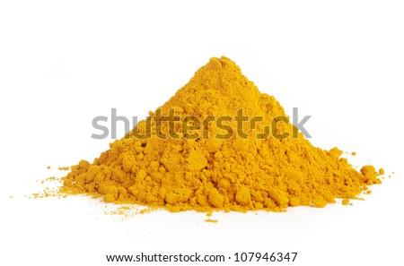 Pile of ground turmeric on white - stock photo
