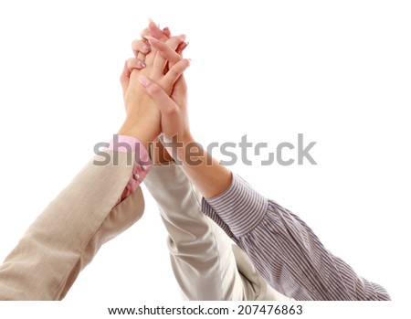 Pile of hands, holding together - stock photo