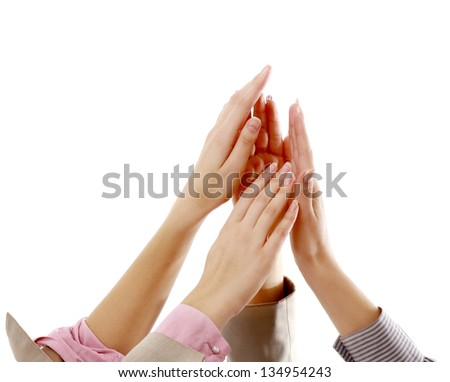Pile of hands, isolated on white background - stock photo