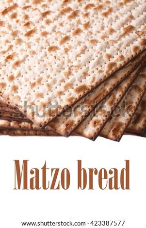 Pile of Jewish matzo Flatbread isolated on white background, vertical - stock photo