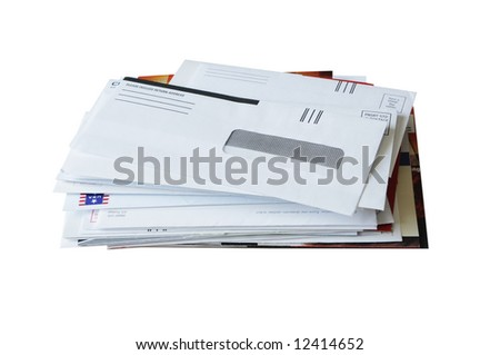 Pile of junk mails, isolated on white background - stock photo