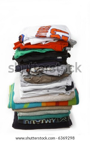 Pile of laundry clothes - stock photo