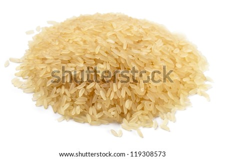 Pile of long grain parboiled rice isolated on a white - stock photo
